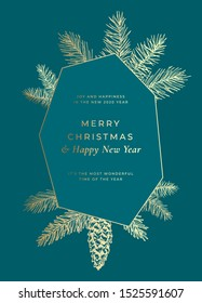 Merry Christmas Abstract Vector Frame Greeting Card, Poster or Holiday Background. Sketch Fir-needles with Strobile. Classy Colors with Gold Gradient and Typography. Isolated.