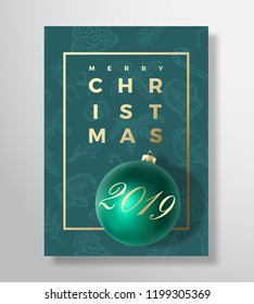 Merry Christmas Abstract Vector Greeting Card, Poster or Holiday Background. Classy Green and Gold Colors, Glitter and Modern Typography. Xmas Ball with Soft Shadows and Sketch Pattern. Isolated.