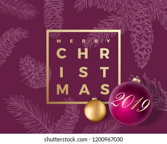Merry Christmas Abstract Vector Greeting Card, Poster or Holiday Background. Classy Purple and Gold Colors, Glitter and Modern Typography. Xmas Balls with Soft Shadows and Sketch Pattern.