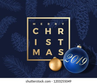 Merry Christmas Abstract Vector Greeting Card Poster Or Holiday Background Classy Blue And Gold