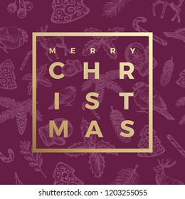 Merry Christmas Abstract Vector Greeting Card, Poster or Holiday Seamless Sketch Pattern Background. Classy Purple and Gold Colors and Creative Typography in a Frame.