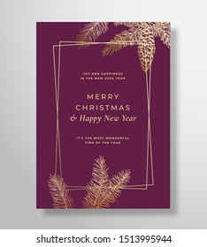 Merry Christmas Abstract Vector Greeting Card, Poster or Holiday Background. Classy Purple and Gold Colors and Typography. Soft Shadows and Sketch Fir-needles with Strobile. Isolated.