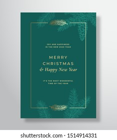 Merry Christmas Abstract Vector Greeting Card, Poster or Holiday Background. Classy Green and Gold Colors and Typography. Soft Shadows and Sketch Fir-needles with Strobile. Isolated.