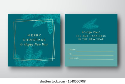 Merry Christmas Abstract Vector Greeting Gift Card Background. Back and Front Design Layout with Modern Typography. Soft Shadows and Sketch Pine Fir Branches. Isolated.