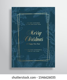Merry Christmas Abstract Vector Greeting Card or Holiday Poster. Classy Blue and Gold Colors and Typography. Soft Shadows and Sketch Pine Twigs, Strobile, Holly and Mistletoe Background. Isolated.
