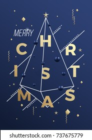 Merry Christmas Abstract Vector Minimalistic Geometry Poster, Card or Background. Classy Blue and Gold Colors, Modern Typography, Decorative Elements.