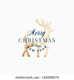 Merry Christmas Abstract Vector Retro Label, Sign or Card Template. Hand Drawn Golden Reindeer or Deer Sketch Illustration with Vintage Typography. Isolated.