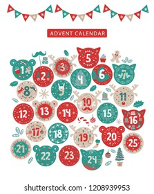 Merry Christmas advent calendar design. Advent calendar with various seasonal objects and symbols. Stickers in the form of the head of a cat, deer, bear. Vector illustration