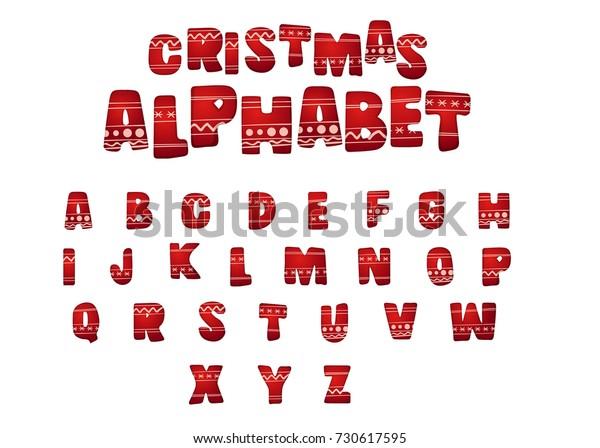 Christmas Alphabet.Merry Christmas Alphabet Letters Holiday Ornament Stock