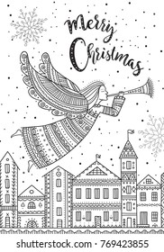 Merry Christmas angel with horn and snow in night sky with stars flying above houses in city. Can be printed and used as greeting card, placard, invitation, poster, etc.