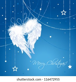 Merry Christmas angel wings background.  Greeting Card in vector.