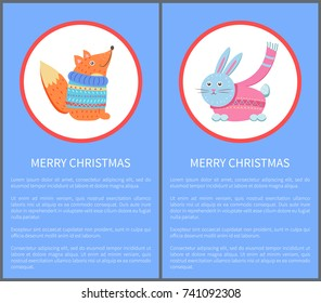 Merry Christmas animal set of icons, fox in sweater and hare rabbit in pink scarf vector illustration of retro animal in knitted cloth in round buttons