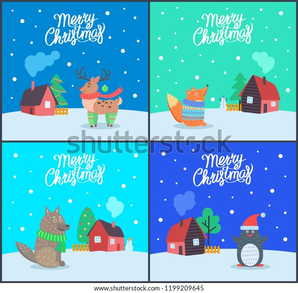 Merry Christmas Animals.Merry Christmas Animals Greeting Posters Text Stock Vector Royalty
