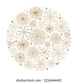 Merry christmas around gold motif with snowflakes, vector illustration