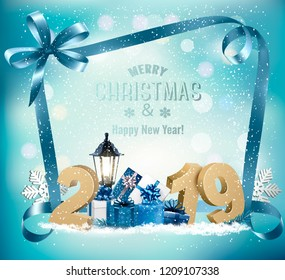 Merry Christmas Background with 2019 and gift boxes and branch of tree. Vector