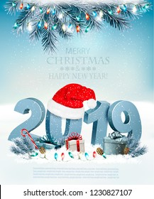 Merry Christmas Background with 2019 and presents. Vector