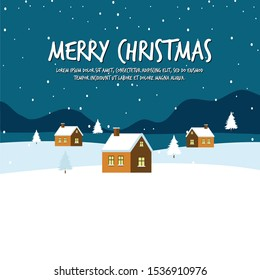 Merry Christmas Background with Building. Flat Gradient Cartoon Vector Illustration in Colored Style. - Vector