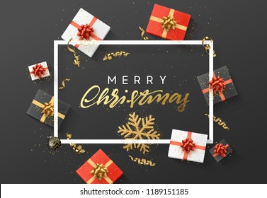 Merry Christmas background. Christmas composition. gift box, confetti, golden snowflake and Xmas balls.