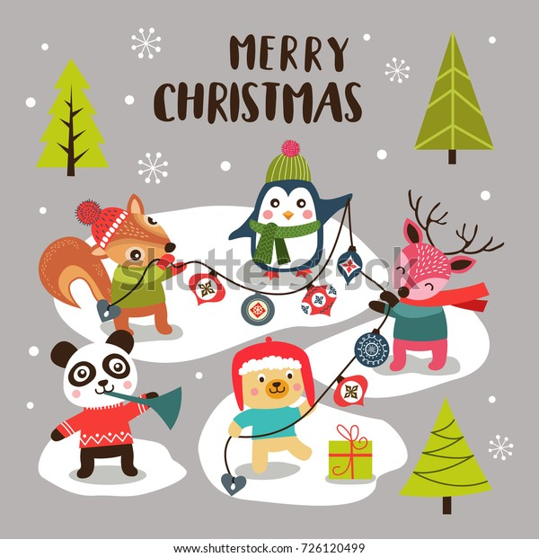 Merry Christmas Background Cute Cartoon Animals Stock