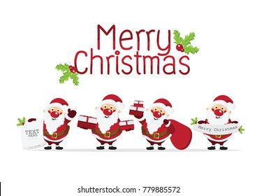 Merry Christmas Background With Cute Santa Claus Characterhappy Conceptdesign For Wallpaper And