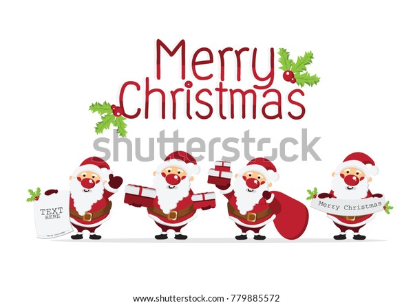 Merry Christmas Background Cute Santa Claus Stock Image