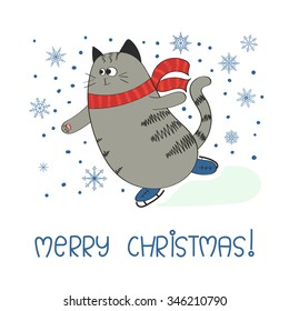 Merry Christmas background with cute skating cat. Greeting card template. Vector illustration.