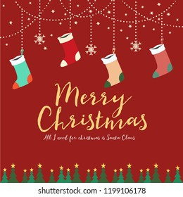 Merry Christmas background design with winter elements for decoration or greeting card printing