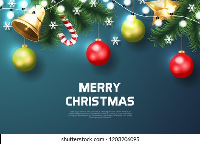 Merry Christmas background with christmas element. Blue Background. Vector illustration