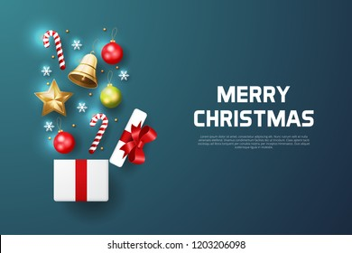 Merry Christmas background with christmas element in a gift box. Blue Background. Vector illustration