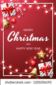 Merry Christmas background with christmas element. Red Background. Vector illustration