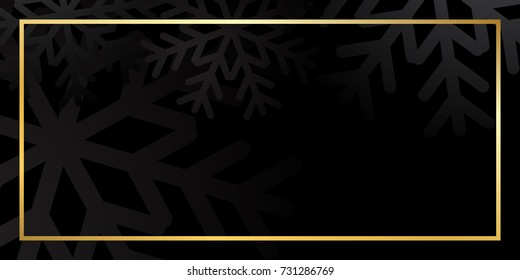 Merry Christmas background with golden frame. Black and gold Christmas background. Card shiny design for holiday celebration, winter Xmas decorative Vector illustration