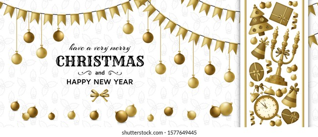 Merry Christmas background and Happy New Year golden balls, gift boxes and alarm clock. Gold colored fir and candelabrum. Greeting card and Xmas template. Five minutes to midnight. Vector illustration