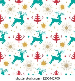 Merry Christmas Background. Holiday Vector Seamless Pattern. Christmas reindeer, Xmas Tree, Snowflakes, Stars Silhouettes. Winter Holidays. New year Wallpaper