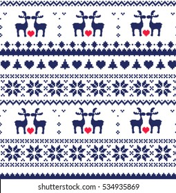 Merry Christmas. Christmas background. Knitted sweater with deers.