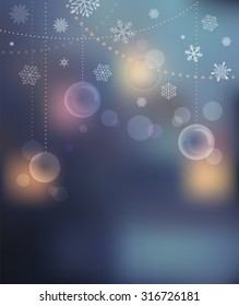 Merry Christmas Background with light bokeh