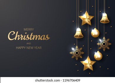 Merry Christmas background with shining gold ornaments. Made of snowflakes, bells, star, christmas ball. Vector illustration
