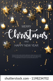 Merry Christmas background with shining gold ornaments. Made of snowflakes, gift, bells, star, christmas ball. Vector illustration