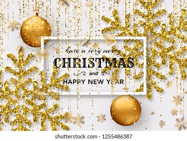 Merry Christmas background with shiny snowflakes, golden balls and gold colored tinsel and streamer. Greeting card and Xmas template. Vector illustration.