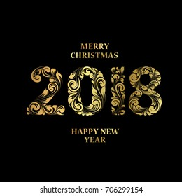Merry christmas background with sign 2018 and Happy new year. New year dark background. Holiday design template for invitation or greeting card.