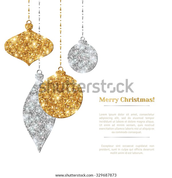 Merry Christmas Background with Silver and Gold Hanging Baubles. Vector illustration. Place for Text.