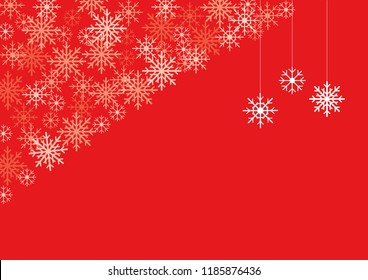 Merry Christmas background with snowflakes on red background. Hanging snowflakes with free space for text advertising