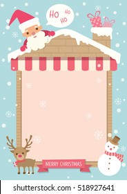 Merry christmas background template poster decorated with house frame, chimney and ornaments.