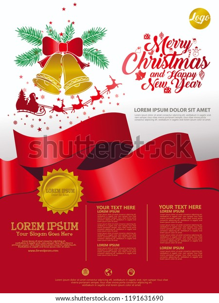 Christmas Leaflet Background.Merry Christmas Background Template Poster Leaflet Stock