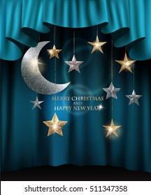Merry christmas background with textured sparkling gold and silver stars and blue theater curtains