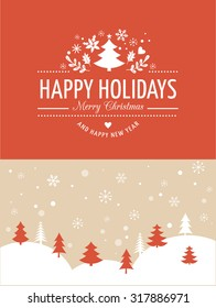 Merry Christmas Background With Typography, Lettering. Red greeting card