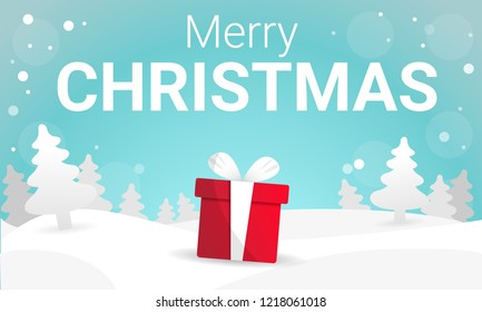 Merry christmas background white landscape concept banner. Cartoon illustration of merry christmas background vector concept banner for web design