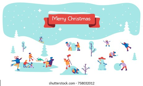 Merry Christmas background with winter outdoor leisure activities, people making a snowman, playing in snow, shopping, decorating christmas tree, ice skating, etc. Flat vector illustration.