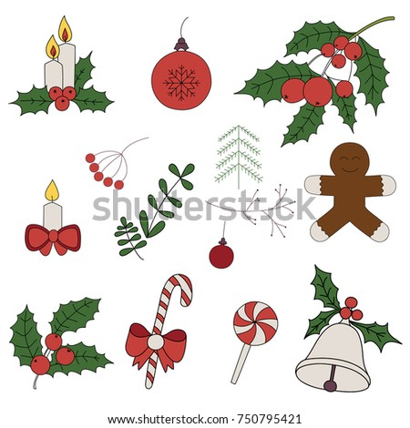 merry christmas badges patches stickers a set of christmas stickers hand drawn - Merry Christmas Stickers