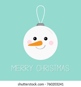 Merry Christmas ball toy hanging. Snowman face head, carrot nose. Cute cartoon funny kawaii character. Tree decoration. Blue winter background. Greeting card. Isolated. Flat design Vector illustration