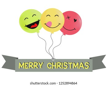 merry Christmas balloon cartoon vector
